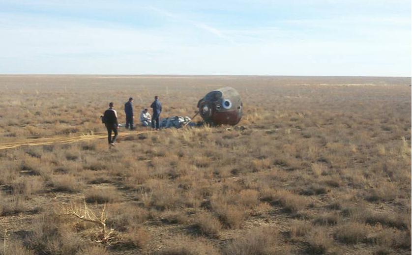 Капсула, на которой после аварии приземлился экипаж «Союза МС-10»