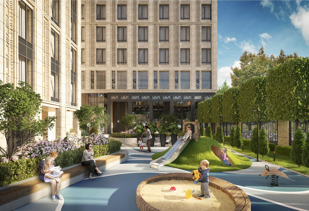 В жилом комплексе предусмотрены просторный внутренний двор, сад сландшафтным дизайном, детская студия, торговые иофисные помещения