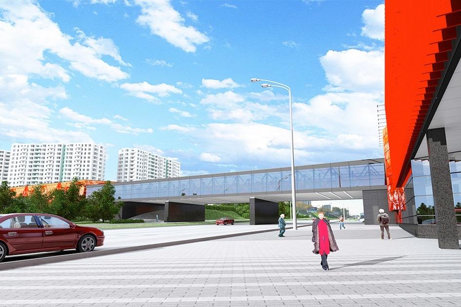 Оба вестибюля станции будут соединены стеклянным надземным переходом