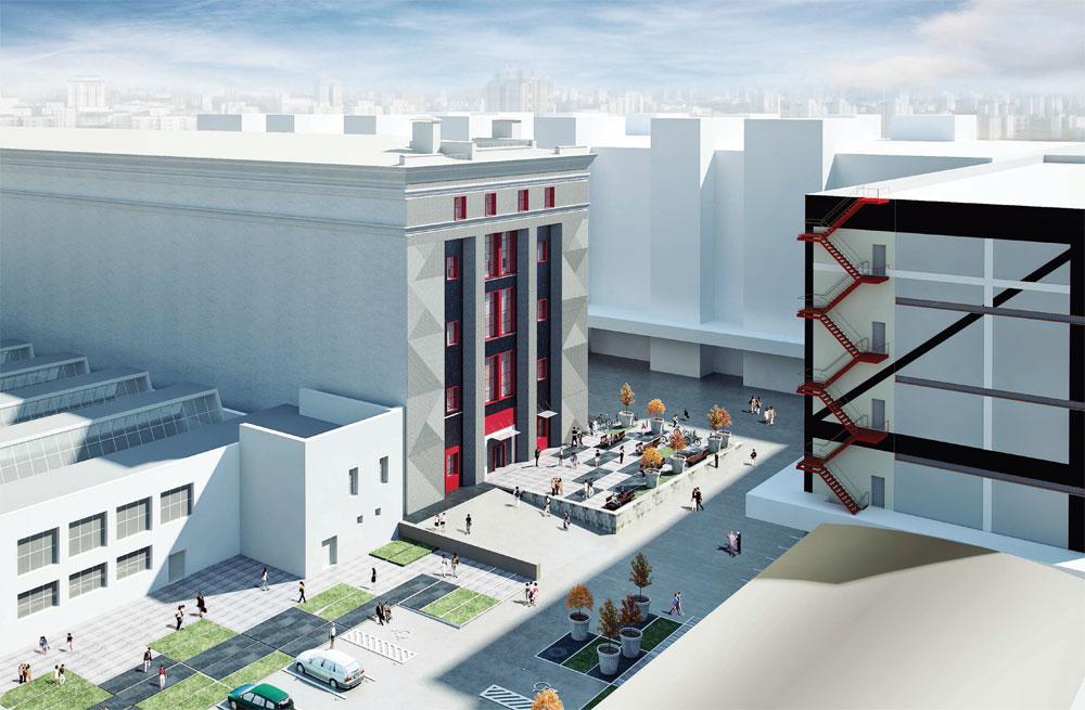 Ярко-красным керамогранитом предлагается акцентировать оконные идверные проемы — такое решение подчеркнет конструктивистский характер здания