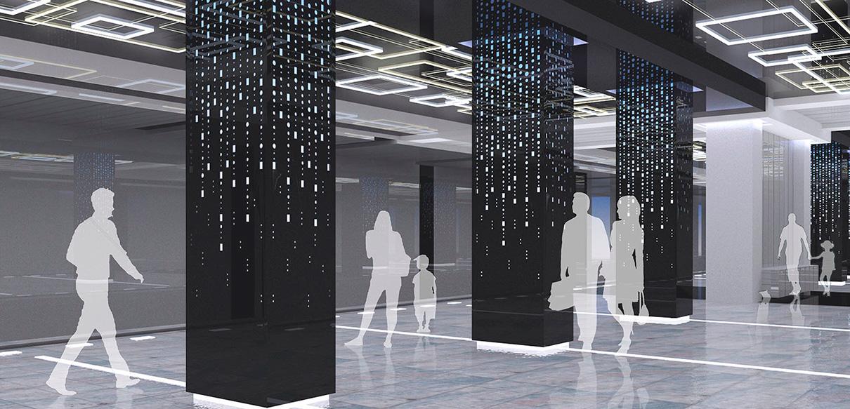 Вестибюль станции метро «Говорово» будет выполнен в серо-черных тонах. Колонны облицуют плитами с декоративной перфорацией, которая заполнена кристаллическими вставками, подсвеченными изнутри. Свет будет иметь три тона: тепло-желтый, белый и фиолетовый (возможно, ультрамарин)