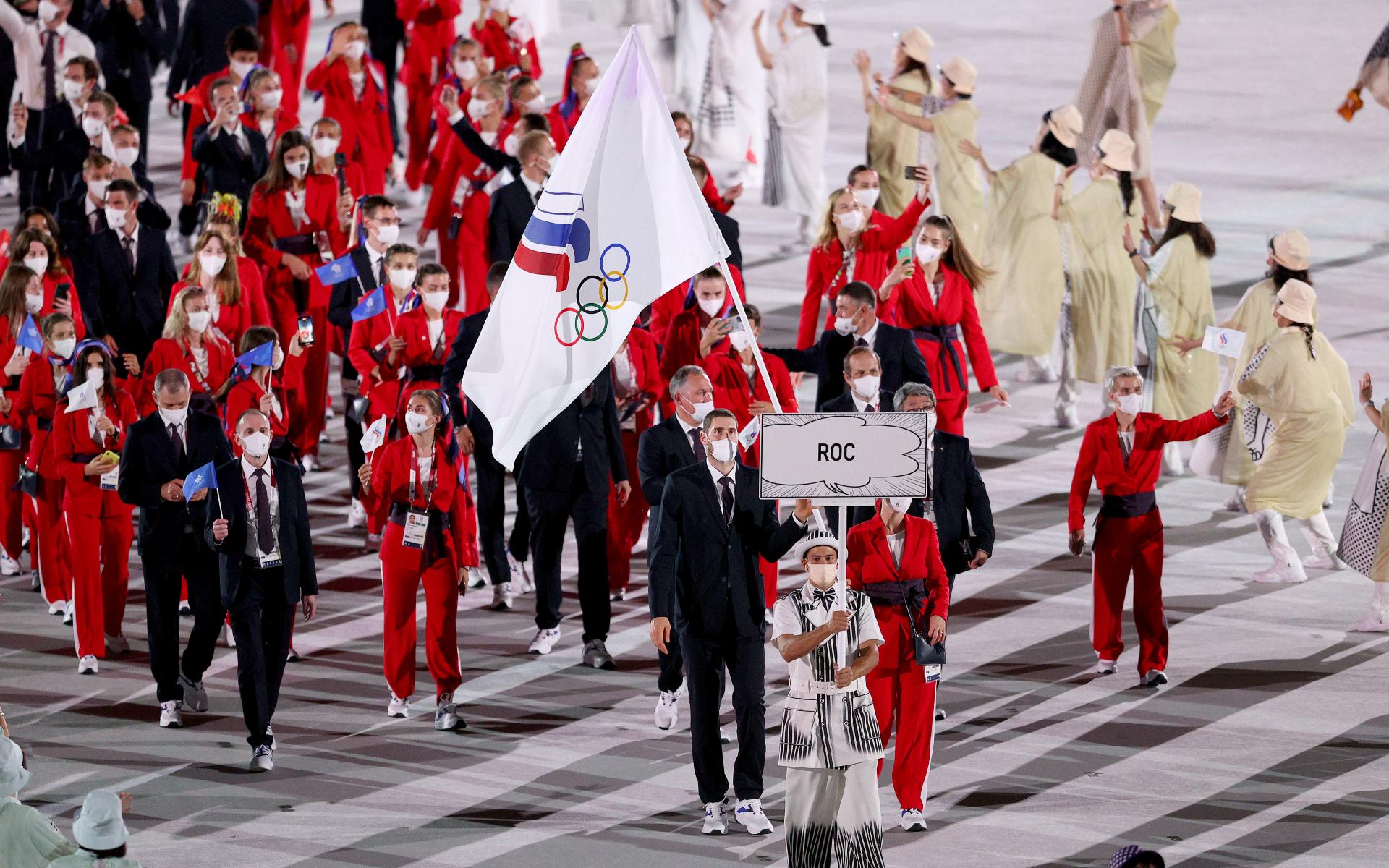 Фото: Сборная России на церемонии открытия Олимпиады в Токио (Photo by Patrick Smith/Getty Images)