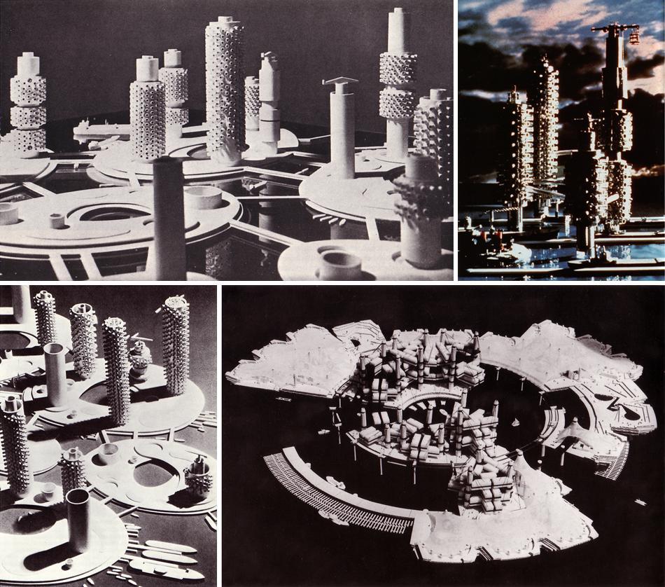 Одним из первых и основных проектов в жанре метаболизма стал спроектированный Кикутакэ Киенори в 1958 году Marine City («Морской город»). Проект плавучего города предполагал его полную автономию от суши, экологичность, устойчивость к стихиям. Marine City оказал большое влияние на конструкцию морских платформ, которые создаются сегодня для научных и недрообрабатывающих нужд