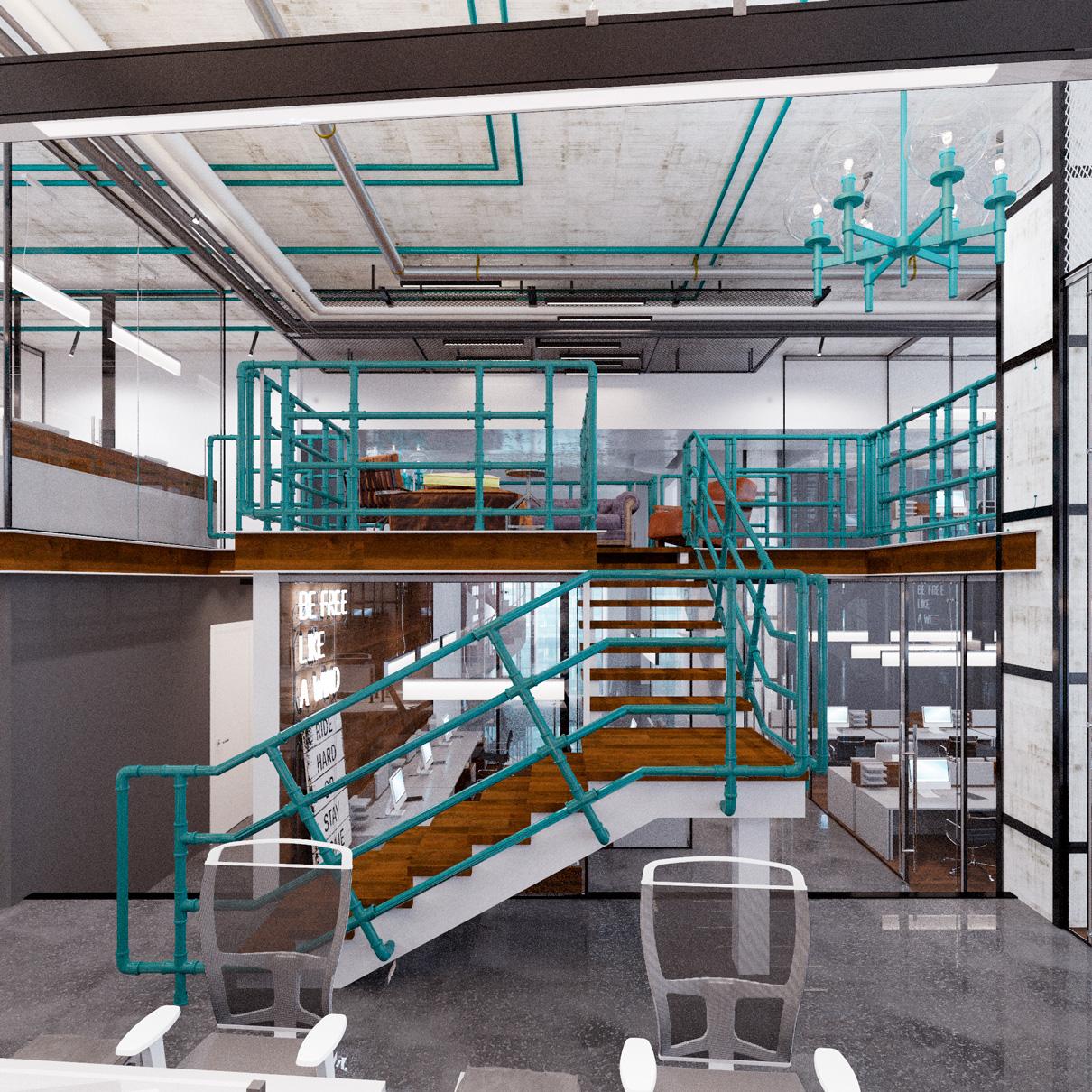 Новое пространство в ОКО будет представлено многоуровневым коворкингом с амфитеатром для презентаций