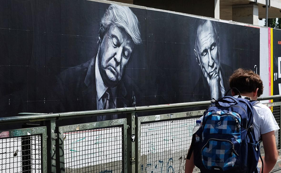 Портреты Дональда Трампа и Владимира Путина