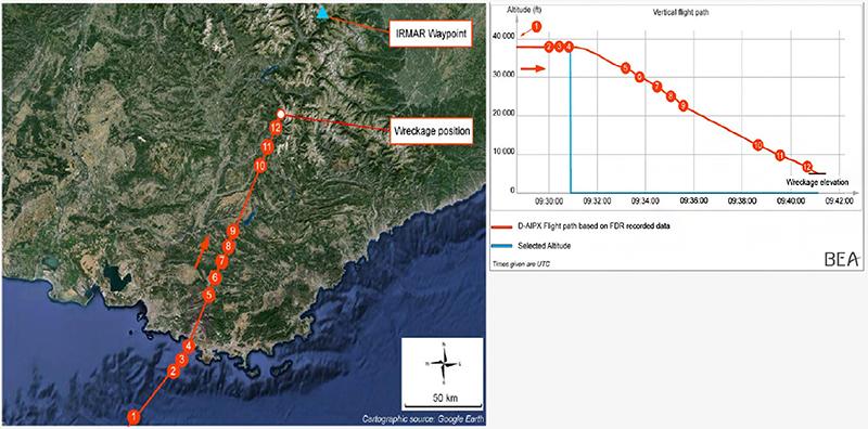 Траектория полета Airbus A320 Germanwings с момента вылета из Барселоны до крушения во французских Альпах
