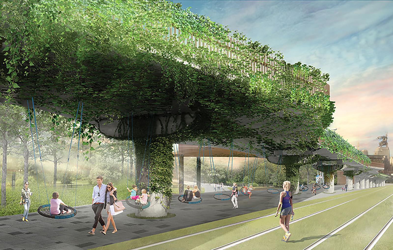 На участке от «ВДНХ» до Продольного проезда расположится культурная зона с висячими садами. Здесь предусмотрены гамаки, качели, световые инсталляции, а также фуд-корт и площадка для паркура