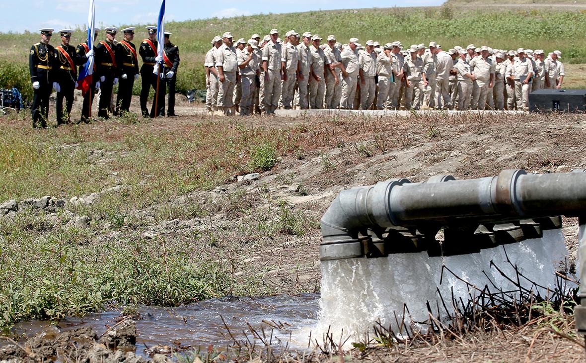 Торжественный запуск 15 трубопроводов между Тайганским и Симферопольским водохранилищами