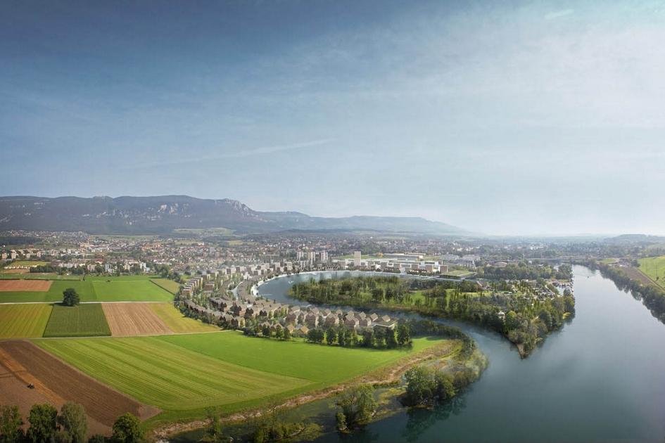 Вассерштадт Золотурн, Швейцария  Один изсамых амбициозных проектов Herzog & de Meuron называется Вассерштадт Золотурн. Это целый город, которыйархитекторы создают снуля. Поселение должно расположиться наместе свалки вшвейцарском кантоне Золотурн. Специально длястроительства нового города Herzog & de Meuron предлагает изменить русло рекиАре: план предусматривает превращение русла вправильный полукруг, наберегу которого, какнатрибуне, будет выстроен Вассерштадт Золотурн