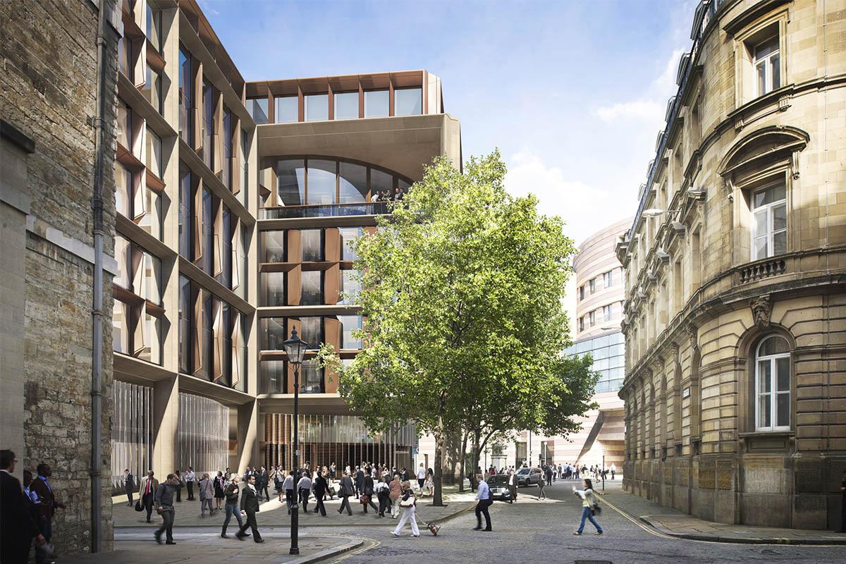 Здание призвано вписываться в окружающее пространство, отдавая уважение архитектурным традициям старого Лондона