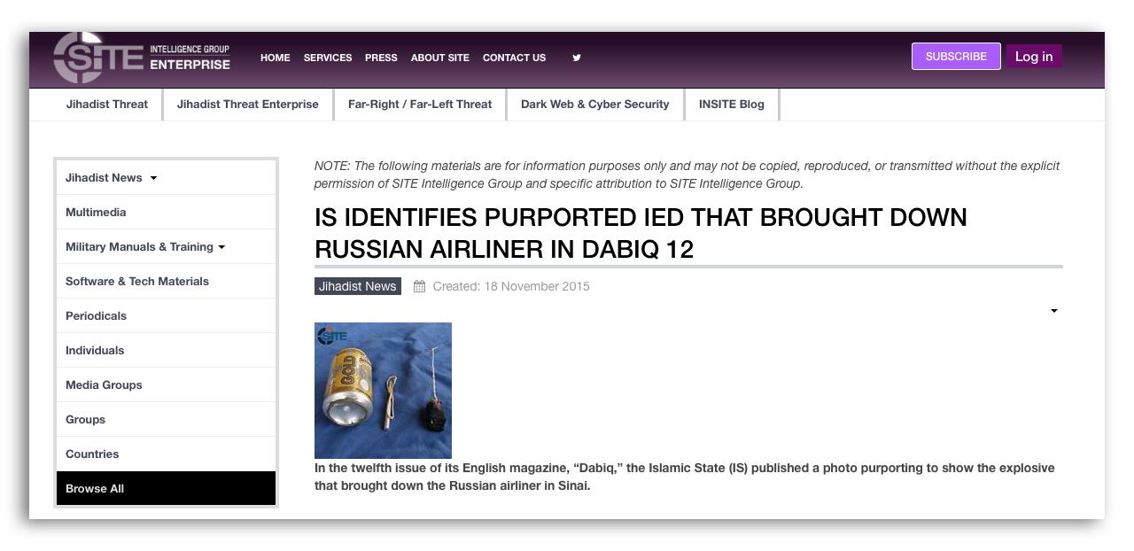Скриншот сайта группы SITE, которая специализируется на мониторинге исламистских сайтов. На фото взрывное устройство, которое по данным издаваемого запрещенной в России организации ИГИЛ журнала Dabiq, было заложено в разбившемся на Синае А321