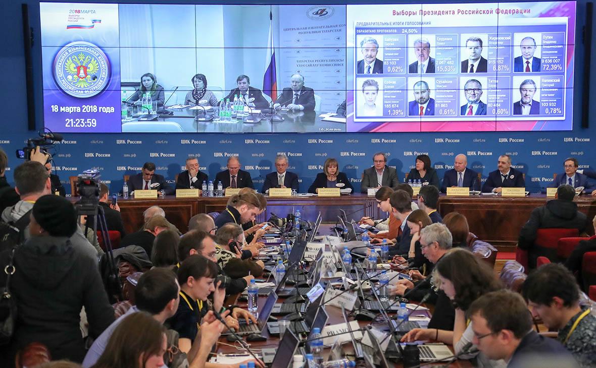 Работа информационного центра ЦИК России на выборах президента России