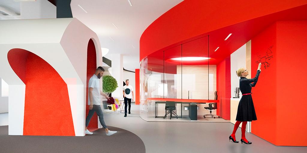 Рабочее пространство организовано попринципу open space—помысли архитекторов, это отражает политику открытости компании