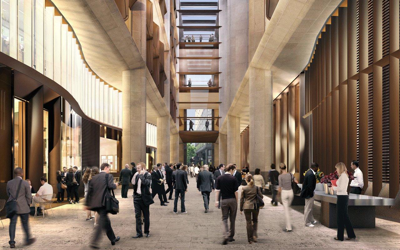 Пешеходное пространство, проложенное сквозь здание офиса, повторяет древнеримскую дорогу, пролегавшую в этом месте