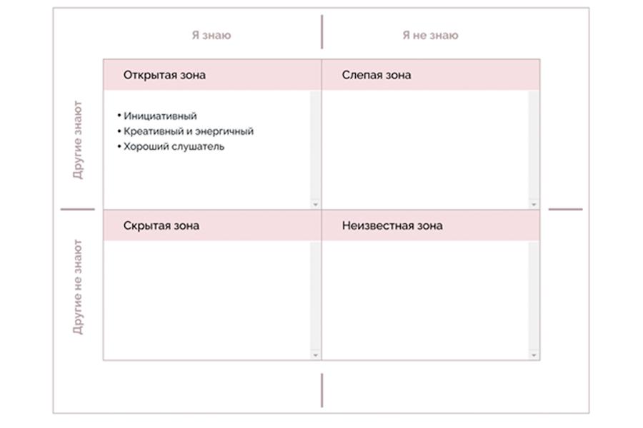 Матрица «Окно Джохари», пример заполнения открытой зоны