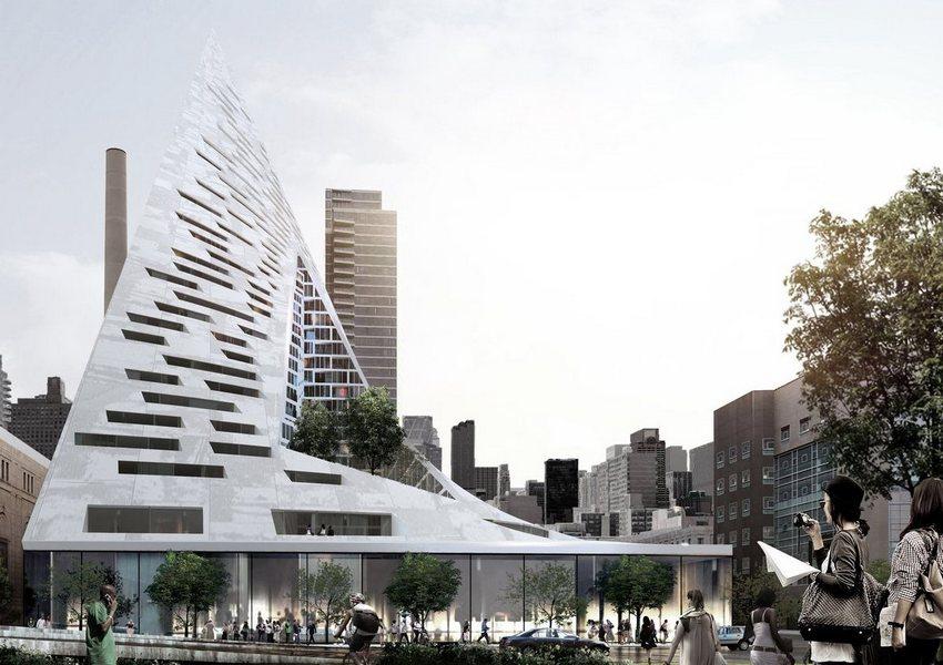 Ландшафтный дизайн в случае этого небоскреба играет не меньшую роль, чем устремленность ввысь и тетраэдрическая концепция