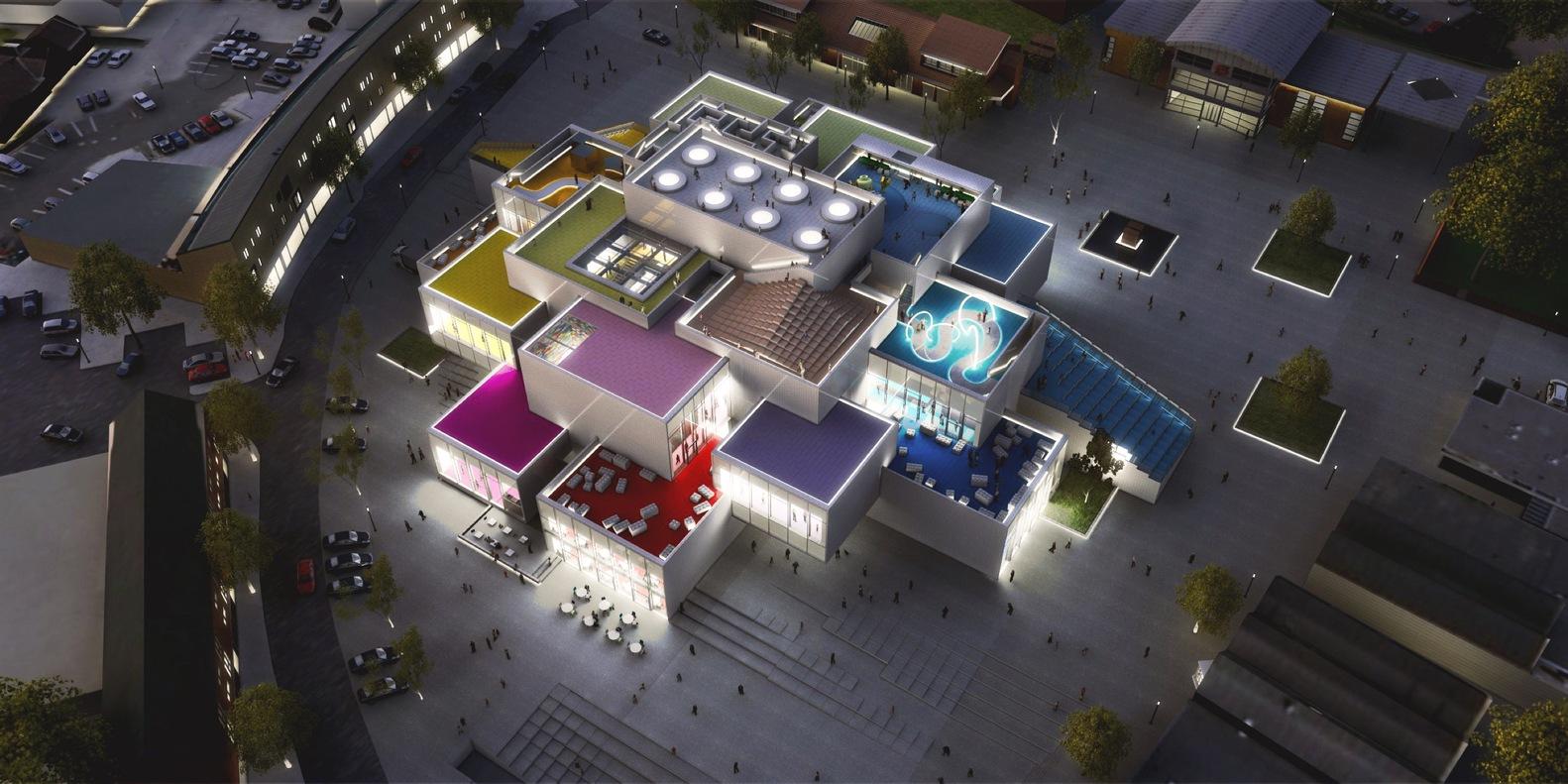 Площадь здания составит12тыс.кв. м. В нем расположатся офисы LEGO Group, атакже детский развивающий центр, которыйбудет способен принимать до250тыс. детей вгод, итематические рестораны