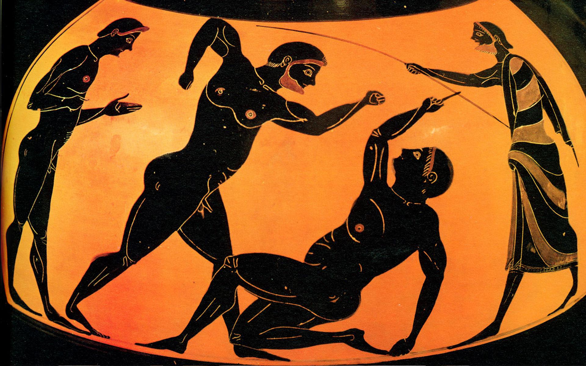 Соревнования по панкратиону— древнегреческому виду единоборств, изображенные на античной вазе