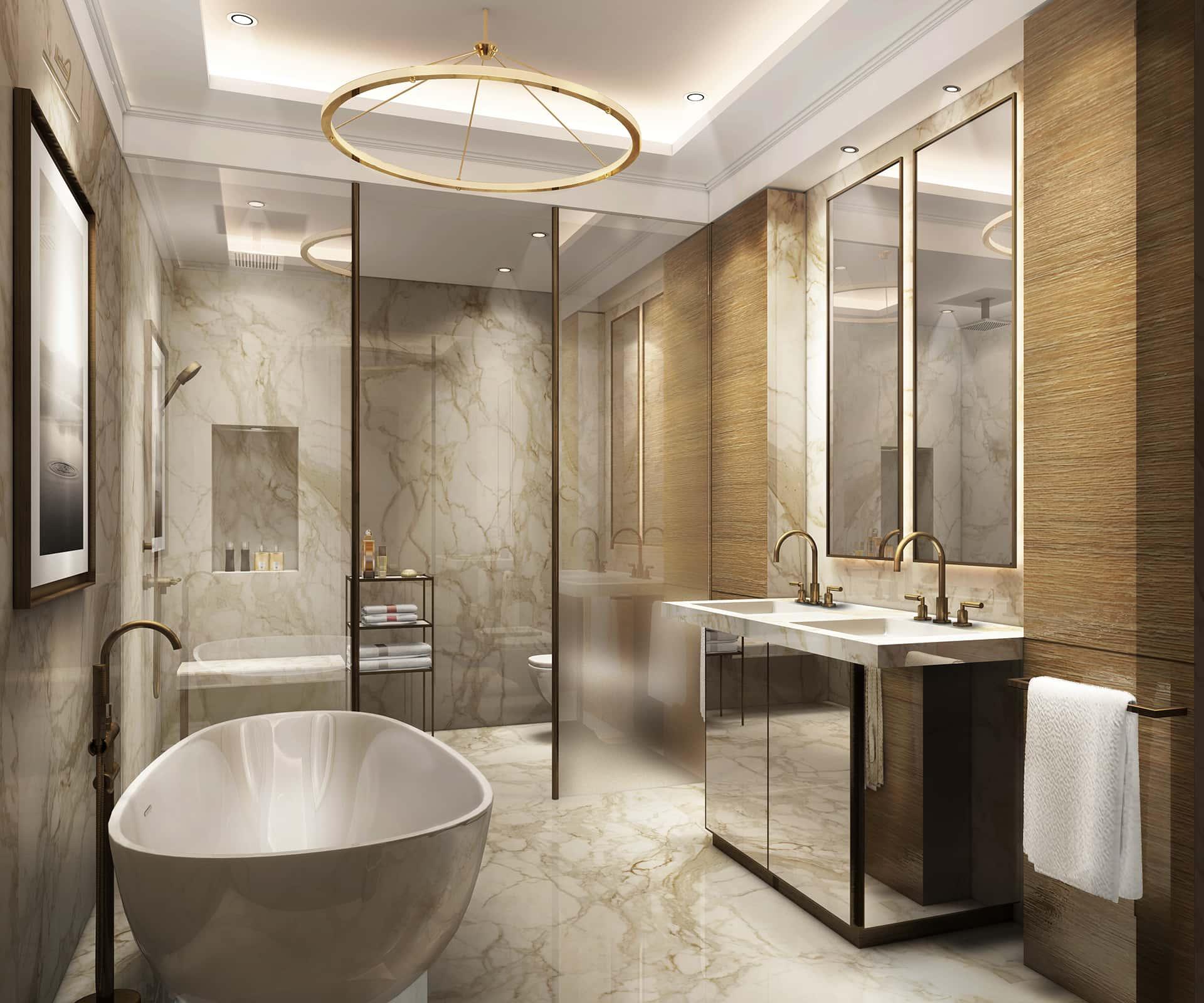 «Современный»  Ванная комната— в бежево-золотистых оттенках