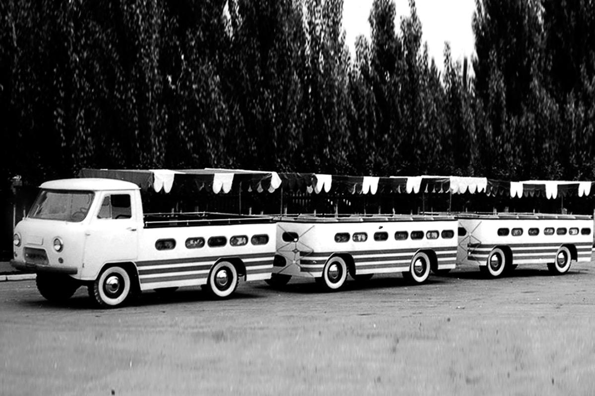 <p>В начале 1970-х в экспериментальном цехе завода &laquo;Кубань&raquo; на базе &laquo;Буханки&raquo; построили детский автопоезд.</p>