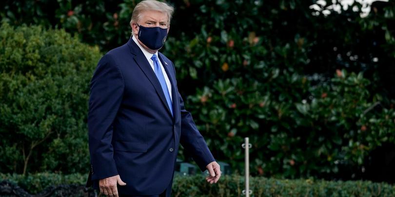 Дональд Трампнаправляется из Белого Дома в Национальный военно-медицинский центр Walter Reed