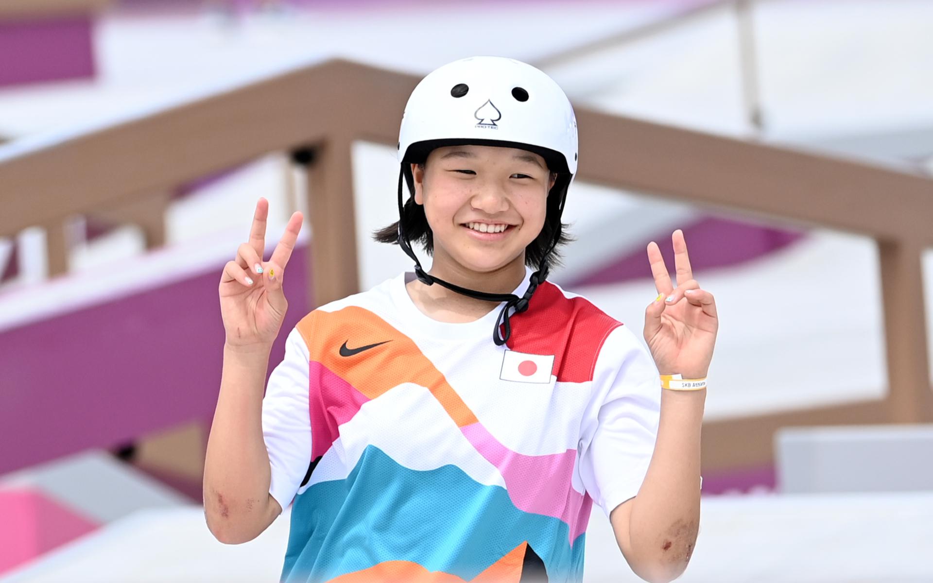 Фото: Олимпийская чемпионка по скейтбордингу Момидзи Нисия (Marijan Murat\dpa)