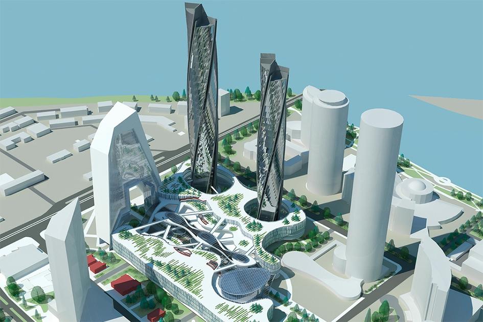 Две спирали иштаны  Вращающиеся башни здесь соседствуют сконструкцией, которая очень похожа назнаменитый «дом-штаны» вПекине
