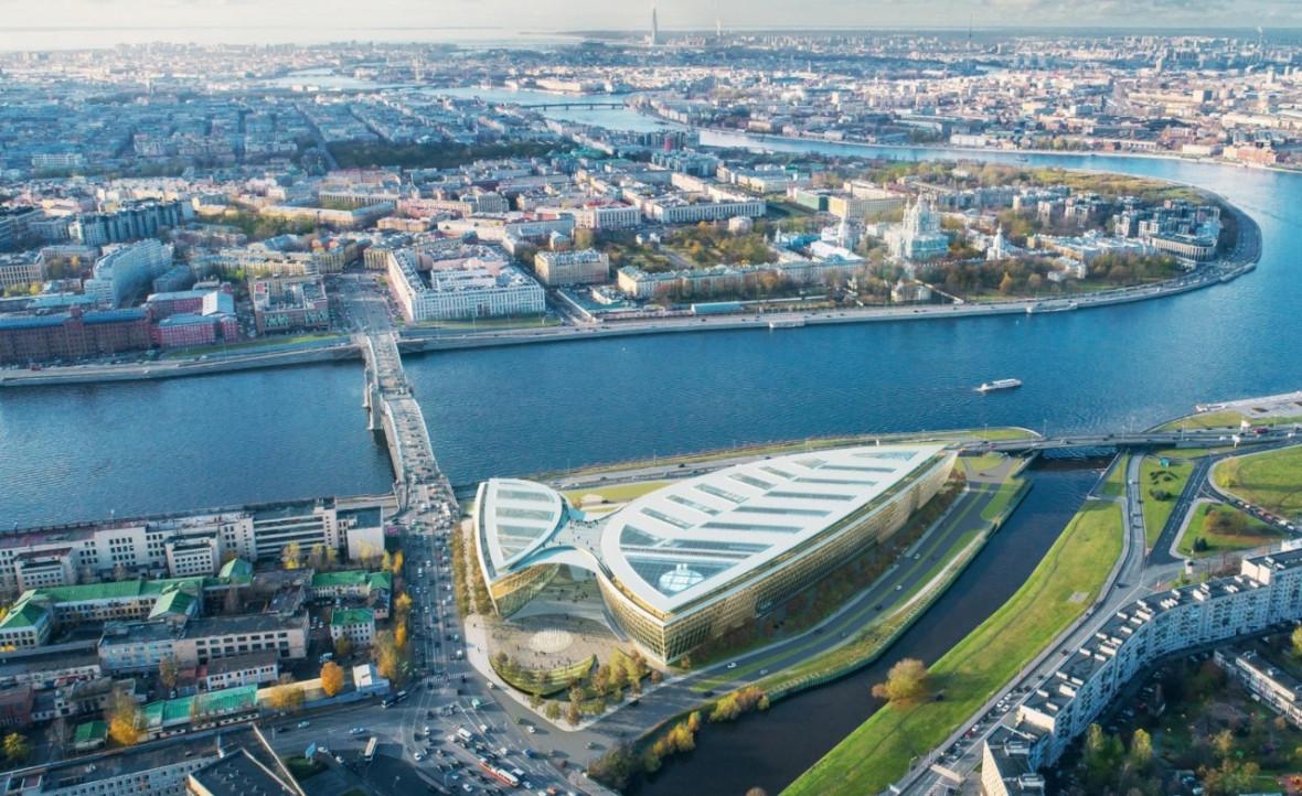 Проект общественно-делового центра на Охтинском мысе, подготовленный архитектурным бюро Nikken Sekkei - победителем закрытого конкурса архитектурных концепций