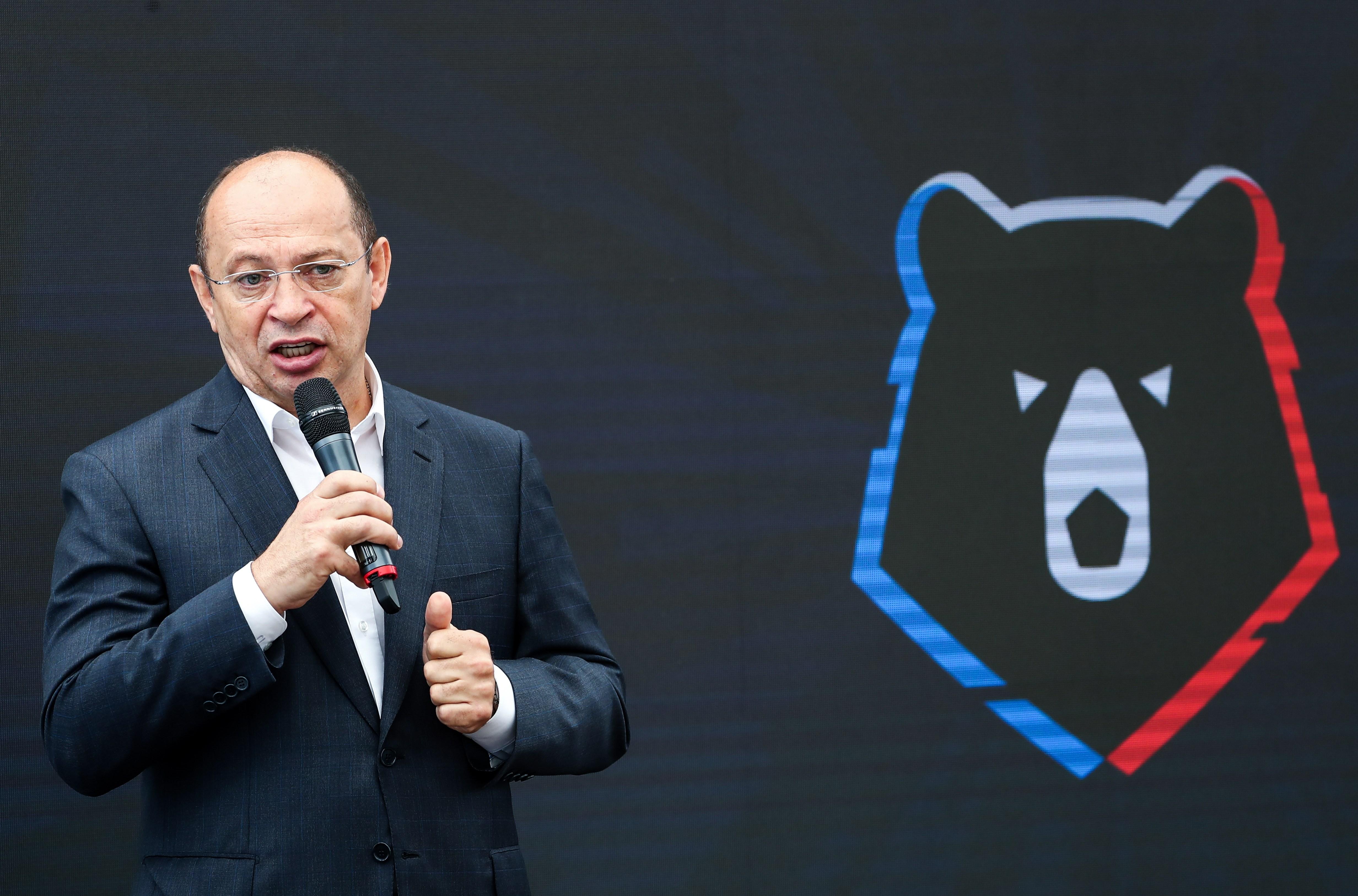 Сергей Прядкин во времяпрезентации нового бренда РПЛ и логотипа футбольного турнира