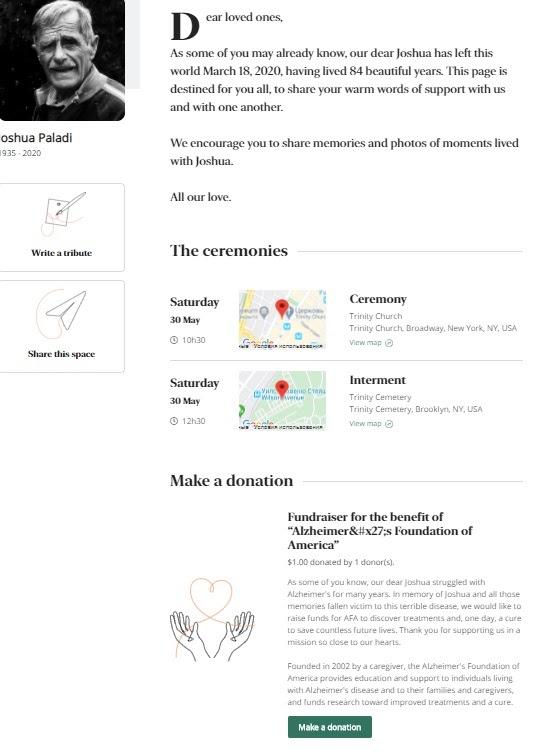 Пример онлайн-мемориала на портале InMemori