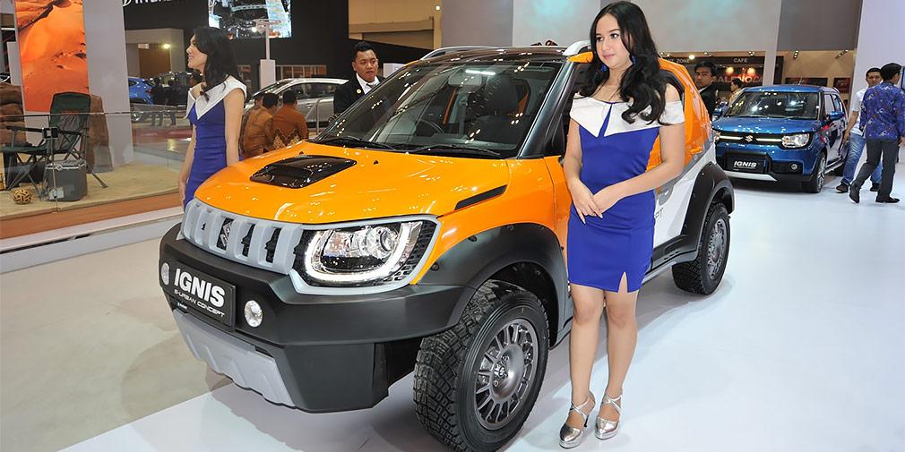 Suzuki Ignis S-Urban  Suzuki решила обыграть внедорожную тему на самой маленькой своей модели — хэтчбеке Ignis. Этот автомобиль длиной всего 3,7 м при желании можно выдать за кроссовер — во всяком случае он может оснащаться полным приводом. К автосалону в Джакарте на базе «Игниса» создали шоу-кар для бездорожья — неокрашенный пластиковый обвес с широченной защитой колесных арок и зауженным для лучшей геометрии передним бампером, увеличенный клиренс, зубастые шины. Силовой агрегат оставили без изменений — это бензиновый атмосферник 1,2 л мощностью 83 лошадиные силы.