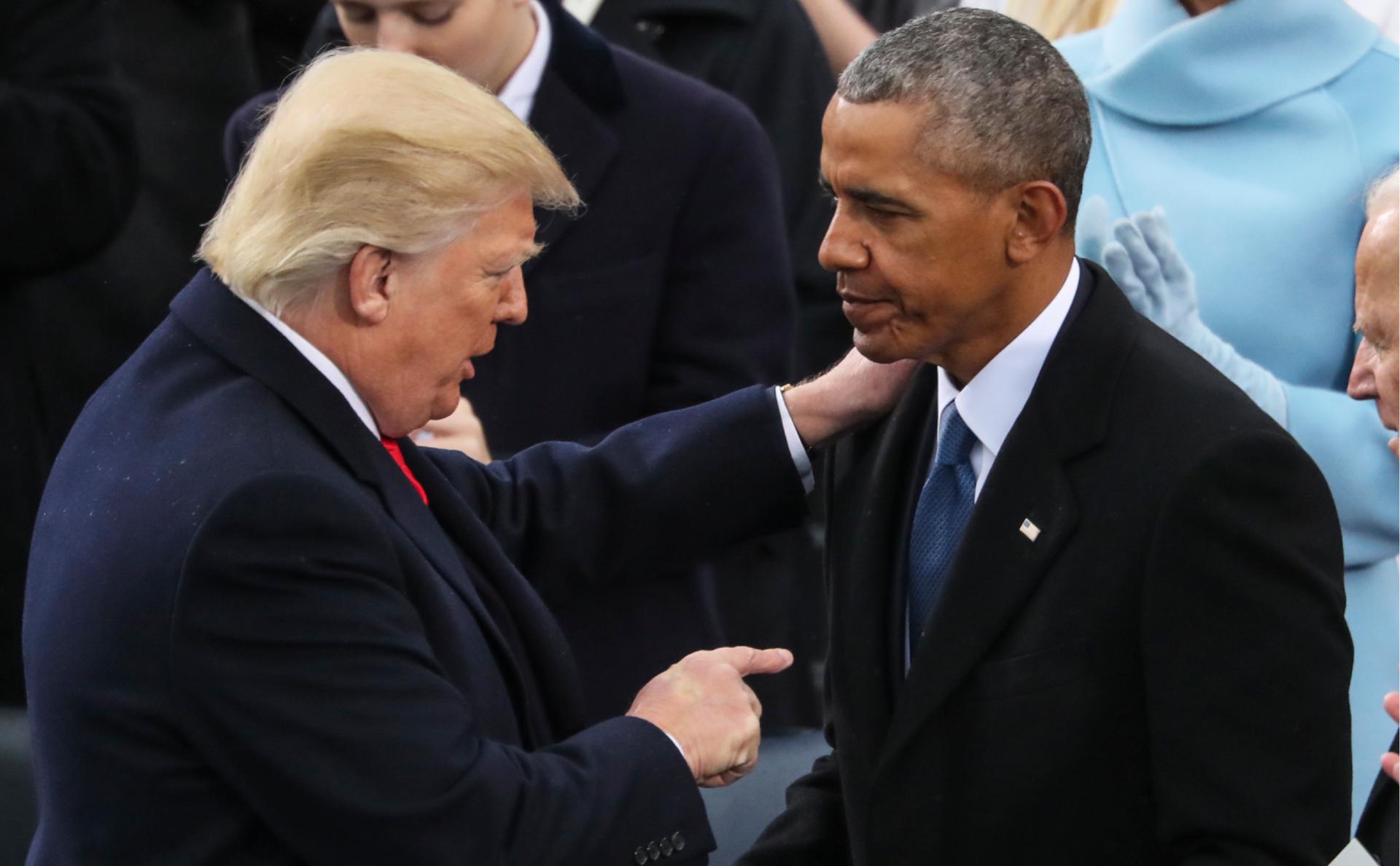 Дональд Трамп (слева) и Барака Обама