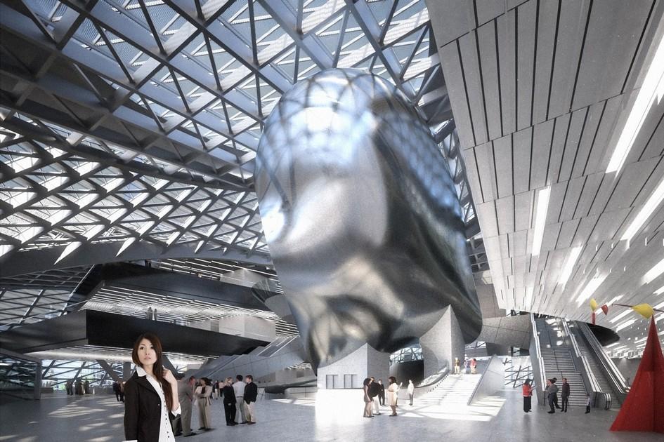 Источником вдохновения дляCoop Himmelb(l)au стал дельфин. На сайте компании показано, какархитекторы переосмыслили форму дельфиньего туловища, воплотив ее вздании музея современного искусства