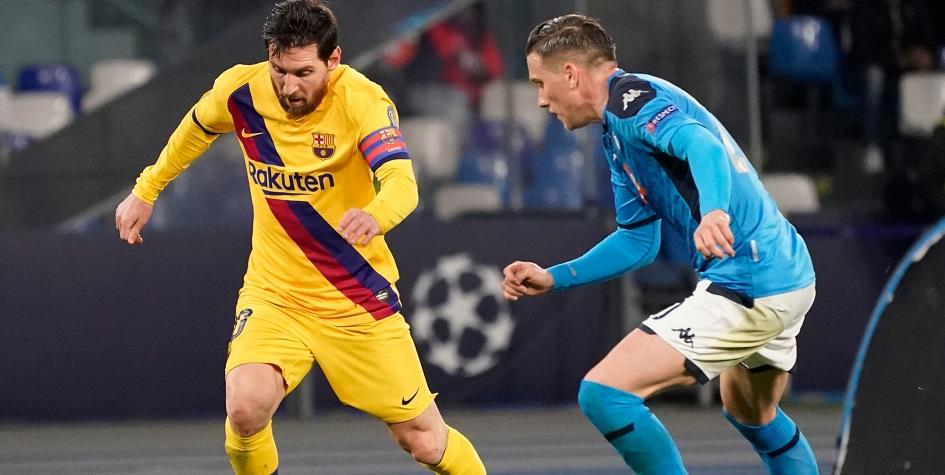 Лионель Месси (слева) и Хосе Кальехон (справа) в матче ЛЧ «Барселона»— «Наполи»