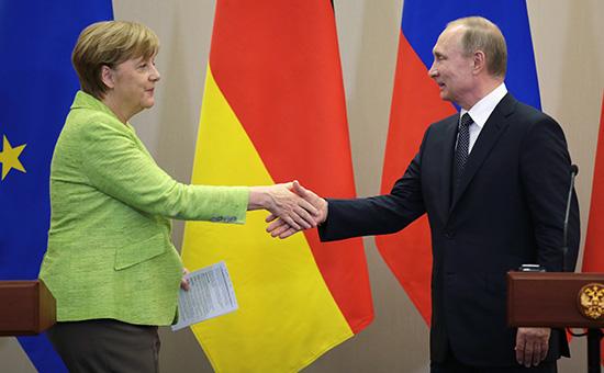 АнгелаМеркель и Владимир Путин