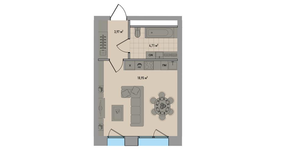 Студия площадью 27,6 кв. м в ЖК «Зорге, 9»