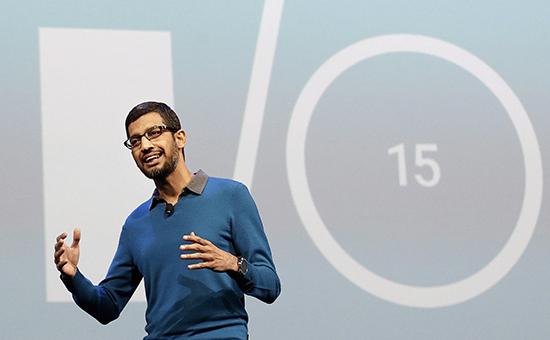 Старший вице-президент компании Google по продуктам Сундар Пичай на ежегодной конференции разработчиков I/O в Сан-Франциско