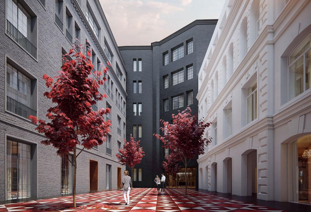 Внутреннее пространство Cloud Nine авторы проекта задумывали пообразу исторических площадей вевропейских столицах