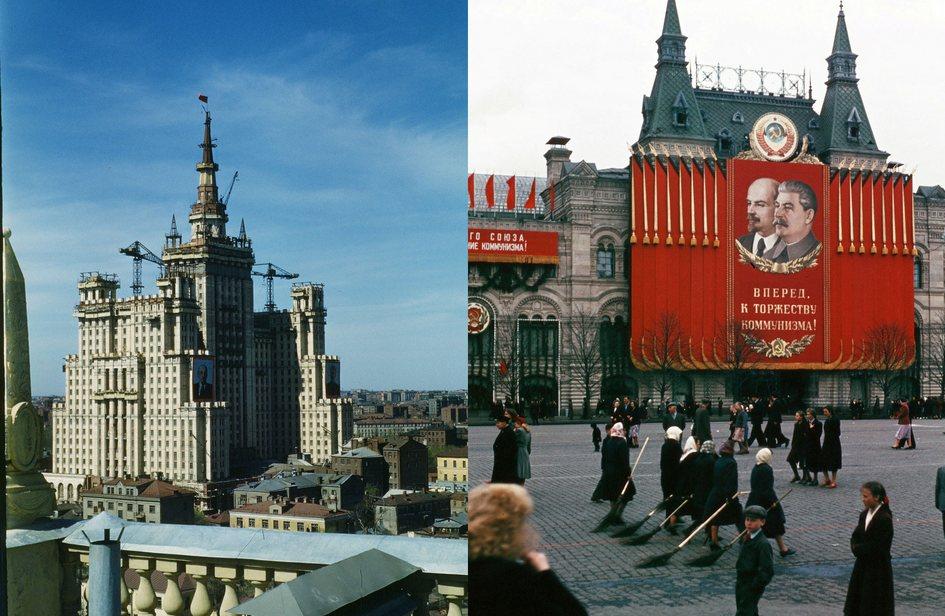 Слева: возведение сталинской высотки наКудринской площади (во время строительства дома называлась площадью Восстания). Справа: дворники наКрасной площади
