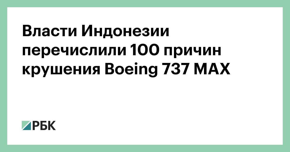 Власти Индонезии перечислили 100 причин крушения Boeing 737 MAX
