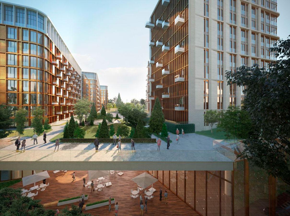 Внутренние дворы озеленят и благоустроят: здесь будут пешеходные дорожки, спортивные и детские площадки. На нижних этажах одного из корпусов разместят детсад на 105 мест