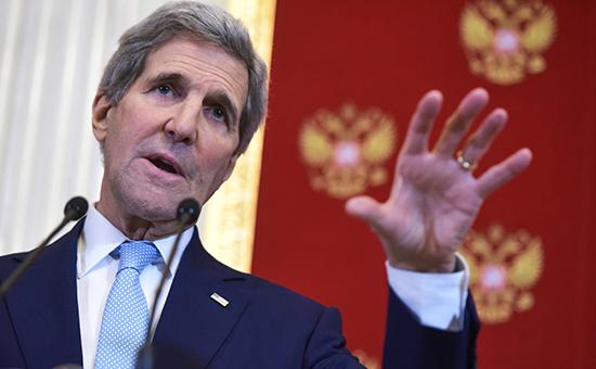Госсекретарь США Джон Керри во время пресс-конференции по итогам встречи с президентом России ВладимиромПутиным в Кремле