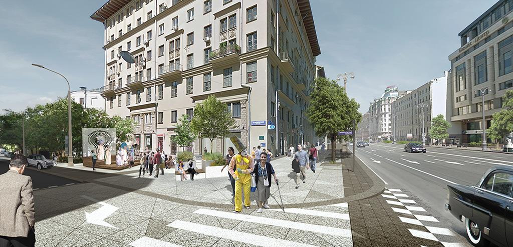 Архитекторы предложили создать зеленые «лагуны» в местах пересечения с прилегающими к Тверской и 1-й Тверской-Ямской улицами