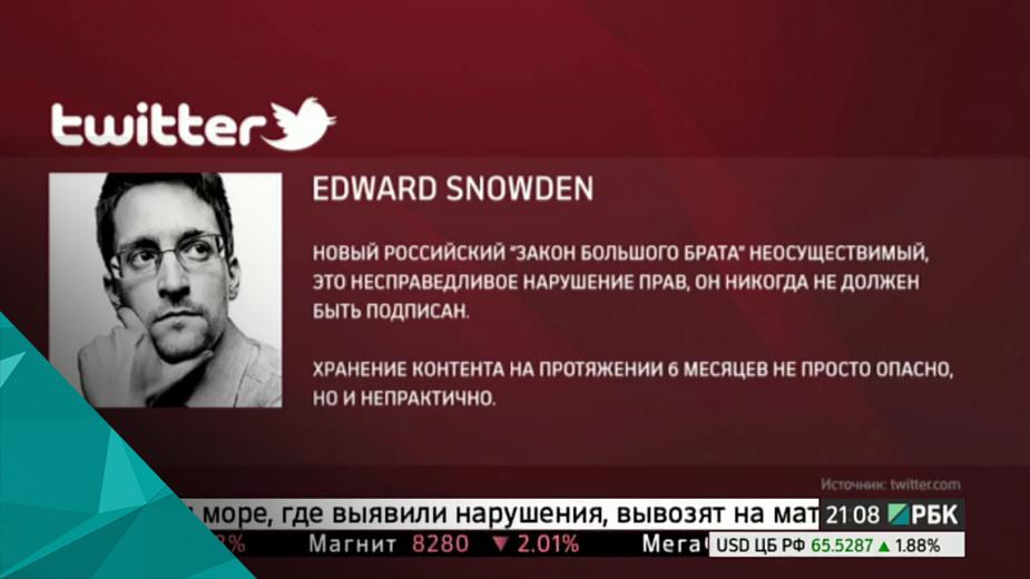 Сноуден раскритиковал новый российский антитеррористический закон В своём Твиттере бывший сотрудник Американского агентства национальной безопасности назвал его «законом большого брата», нарушающим права и неосуществимым. Сноуден считает, предлагаемое хранение сообщений на протяжении шести месяцев - опасно и непрактично.
