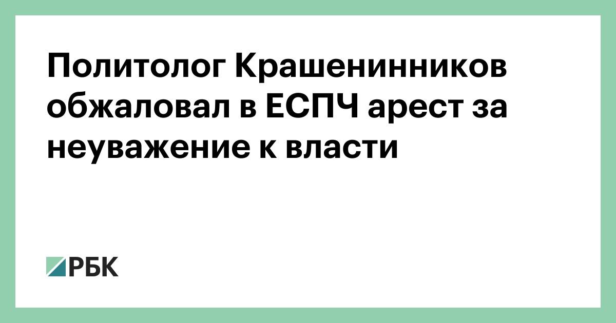 Политолог Крашенинников обжаловал в ЕСПЧ арест за неуважение к власти