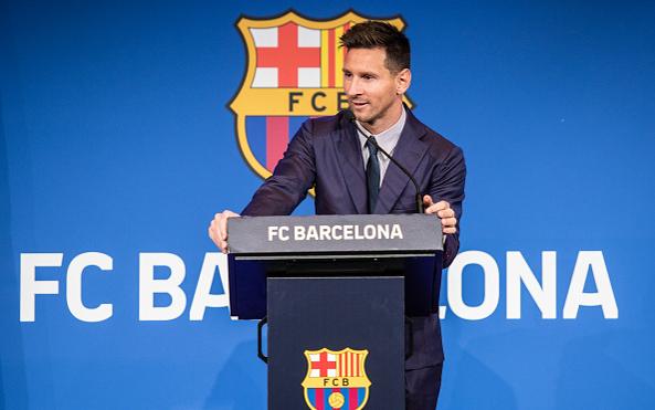 Лионель Месси на пресс-конференции перед уходом из «Барселоны» в ПСЖ