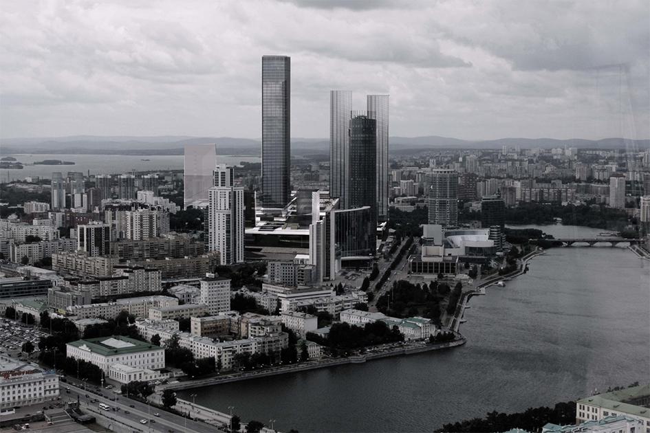 Строгий черный  Визитной карточкой этого проекта служит «городской балкон»— поднятое навысоту второго-третьего этажа общественное пространство вцентре квартала, гдебудет создана новая городская площадь