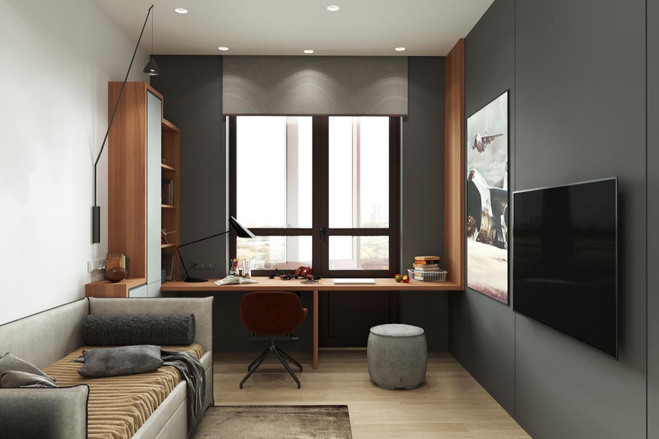 Вариантов размещения рабочего стола в комнате множество: стол-подоконник, стол под окном, стол сбоку от окна, стол-трансформер.(проект А. Стубе)