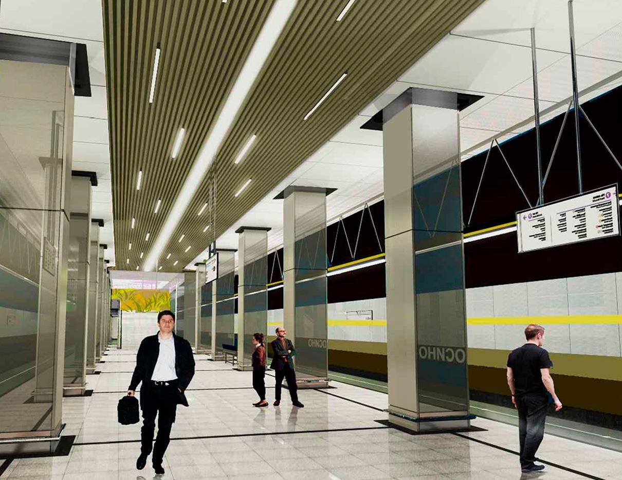 Станция «Косино» Кожуховской линии метро названа в честь района, в котором расположена. В дизайне вестибюлей сочетаются бежевый и серый цвета, популярные в архитектуре конца ХХ — начала XXI века. Потолок будет подвесным — из элементов разного размера под медь, титан, черный никель и хром