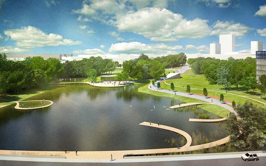 Самую большую площадь — свыше 11 га — займет Центральный парк, где оборудуют набережную с мостами, пирсами и летней сценой на воде